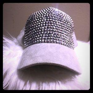 Studded velvet hat